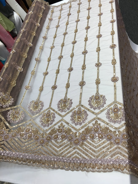 Shop Lace Fabric Beaded Fabric Multicolor Mocha Lace Heavy Beads For Bridal Veil Mesh Dress Top Wedding Decoration By The Yard