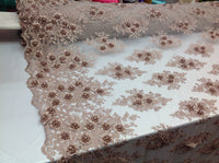 Floral Fabric 3D Flower Bridal Beaded Fabric Taupe/Champagne Heavy Embroidered Mesh Dress For Wedding Veil By The Yard