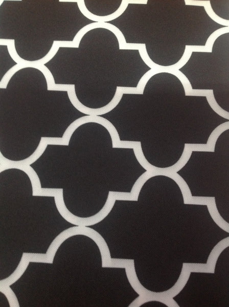 Moroccan Quatrefoil Canvas Outdoor Waterproof Fabric / Black / Sold By The Yard