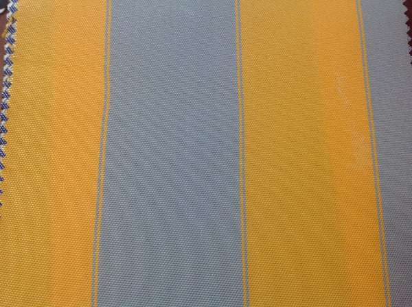 2 Tone Stripe Deck Canvas Outdoor Waterproof Fabric / Mustard/Gray / Sold By The Yard