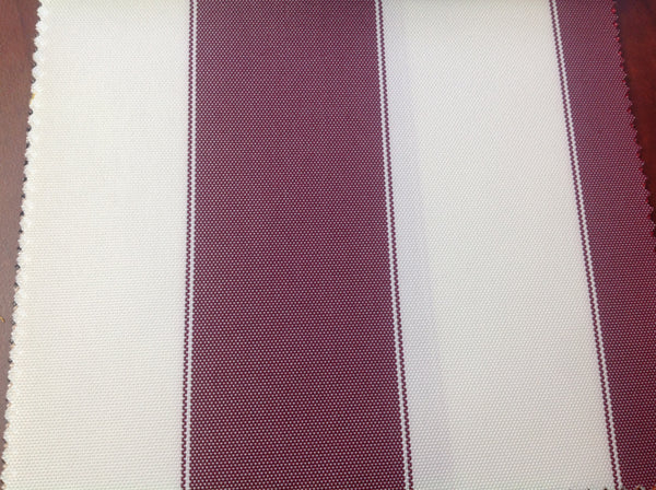 2 Tone Stripe Deck Canvas Outdoor Waterproof Fabric / Burgundy/Off White / Sold By The Yard