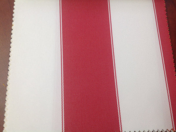 2 Tone Stripe Deck Canvas Outdoor Waterproof Fabric / Red/White / 2 Yards Piece Clearance With Red Stains