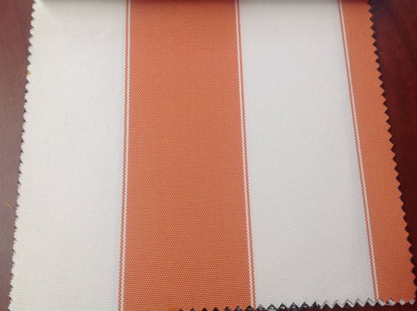 2 Tone Stripe Deck Canvas Outdoor Waterproof Fabric / Orange/Off White / Sold By The Yard