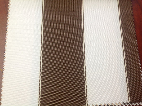 2 Tone Stripe Deck Canvas Outdoor Waterproof Fabric / Brown/White / Sold By The Yard - Supreme Acoustics