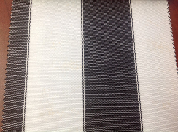 2 Tone Stripe Deck Canvas Outdoor Waterproof Fabric / Black/White / Sold By The Yard