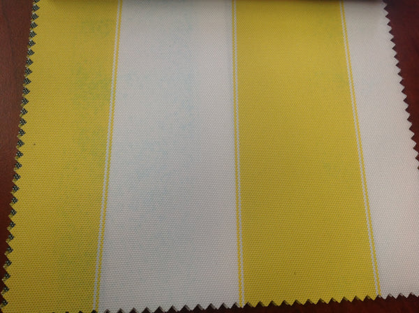 2 Tone Stripe Deck Canvas Outdoor Waterproof Fabric / Yellow/White / Sold By The Yard - Supreme Acoustics