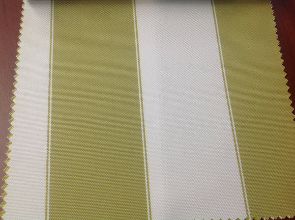 2 Tone Stripe Deck Canvas Outdoor Waterproof Fabric / Olive/Ivory / Sold By The Yard