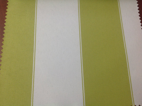 2 Tone Stripe Deck Canvas Outdoor Waterproof Fabric / Lime/White / Sold By The Yard