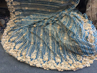 Beaded Fabric - Teal Embroidered Lace Beads By The Yard For Bridal Veil Mesh Dress Top Wedding Decoration