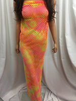Fish net 4 way stretch nylon spandex Lycra Orange Yellow Pink colored fabric sold by the yard