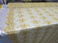 Gold Flower Bridal Beaded Fabric Heavy Embroidered Mesh Lace Fabric By The Yard