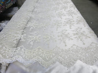 Ivory Flower Bridal Beaded Fabric Heavy Embroidered Mesh Lace Fabric By The Yard