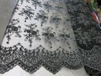 Black Flower Bridal Beaded Fabric Heavy Embroidered Mesh Lace Fabric By The Yard