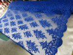 Embroidered Lace fabric Royal Blue Flower/Floral Sequins Corded Mesh Bridal Wedding Dress By The Yard - Supreme Acoustics