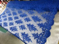 Embroidered Lace fabric Royal Blue Flower/Floral Sequins Corded Mesh Bridal Wedding Dress By The Yard
