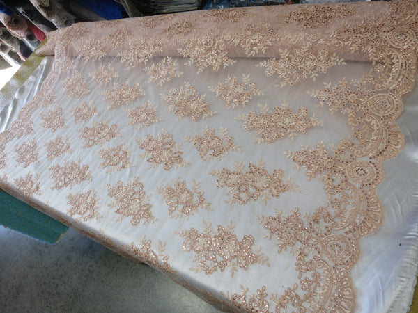 Embroidered Lace fabric Blush Flower/Floral Sequins Corded Mesh Bridal Wedding Dress By The Yard