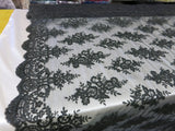 Embroidered Lace fabric Black Flower/Floral Sequins Corded Mesh Bridal Wedding Dress By The Yard
