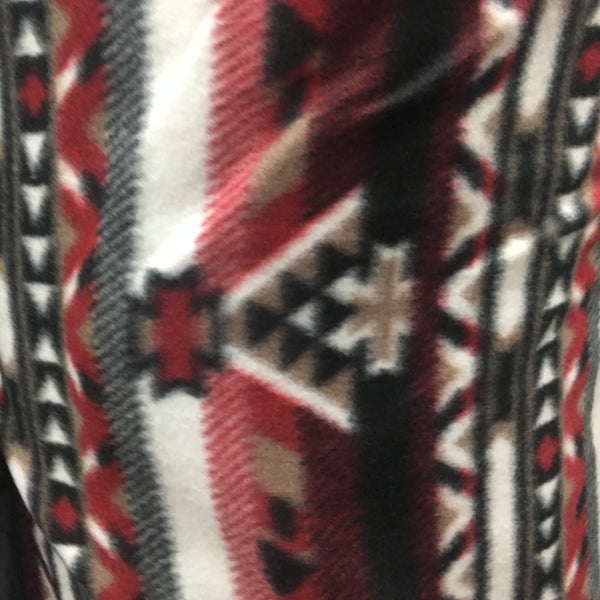 "Indian Print Polar Fleece Fabric - RED INDIAN - Sold By The Yard 60"" Width"