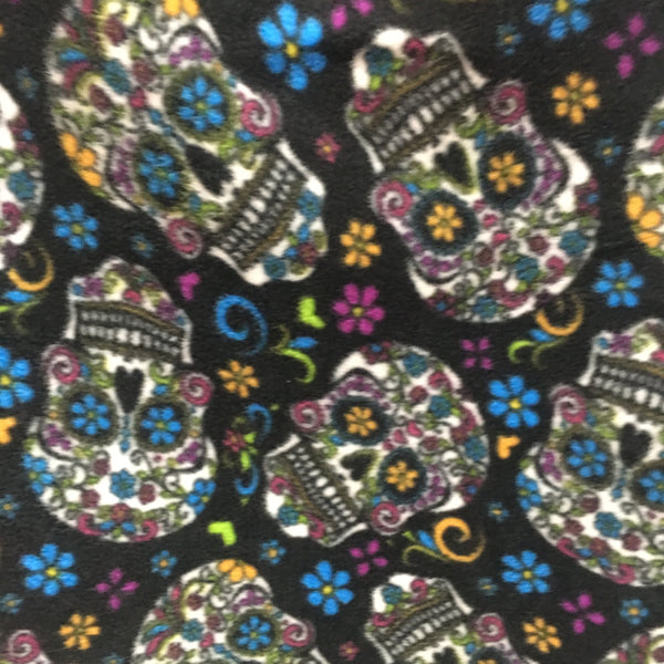 Calavera by David Textiles Fleece Printed Fabric Floral Skull Black by the yard
