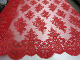 Embroidered Lace fabric Red Flower/Floral Sequins Corded Mesh Bridal Wedding Dress By The Yard