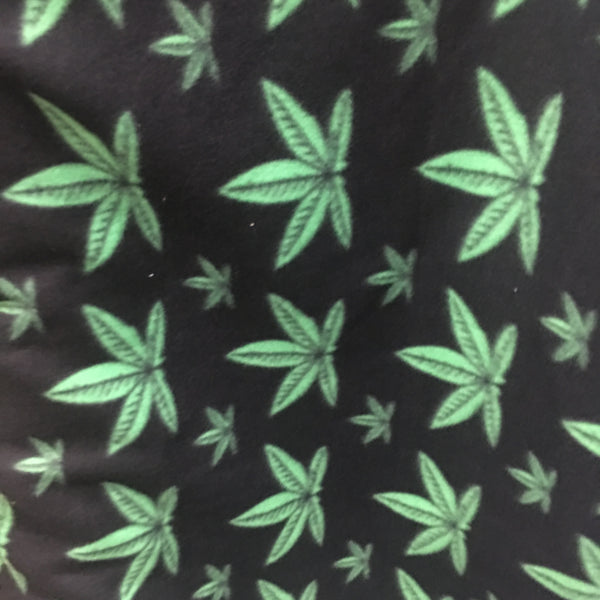 Fleece Printed Fabric - Marijuana Cannabis Toss - Sold By The Yard Warm Blanket Decor Anti-Pill Clothing Sweaters
