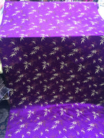 Asian Designs stunning faux silk Bamboo phoenix Brocade satin Purple fabric designer material by yard