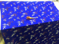 Asian Designs stunning faux silk Bamboo phoenix Brocade satin Royal Blue fabric designer material by yard