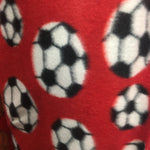 Fleece Printed Fabric - Soccer Balls Red - Sold By The Yard Warm Blanket Decor Anti-Pill Clothing Sweaters