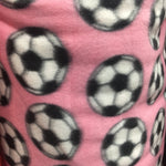 "Soccer Print Polar Fleece Fabric - PINK - Sold By The Yard 60"" Width"