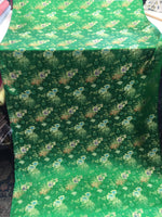 Asian Designs stunning faux silk Medallion phoenix Brocade satin Green fabric designer material by yard