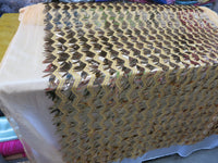 Gold Grass Spike Design Sequins Mesh Fabric By Yard