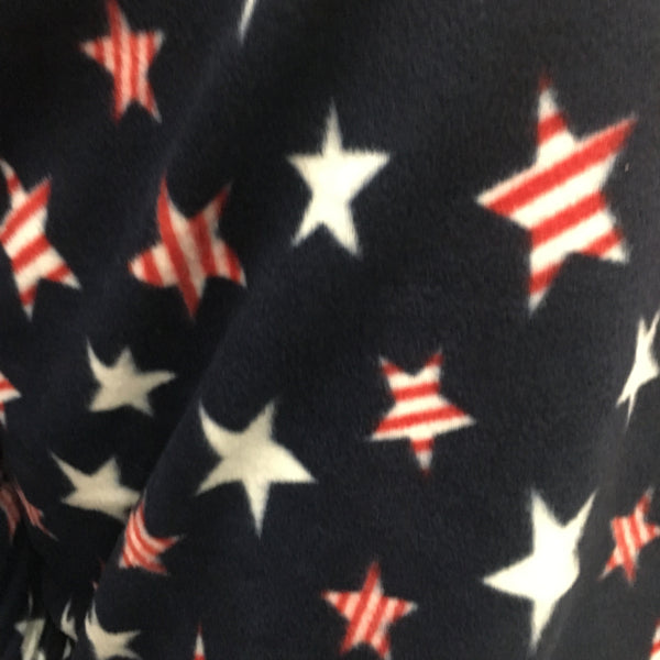 4th Of July Stars Design Print Fleece Fabric by the yard