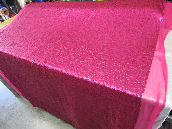 Drop Sequin Fabric / Matte Fuchsia / Sold By The Yard