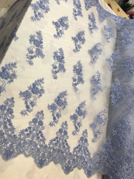 Shop Beaded Mesh Lace Fabric Powder Blue Lace By The Yard Embroidered Lace With Beads And Sequins French Bridal Veil