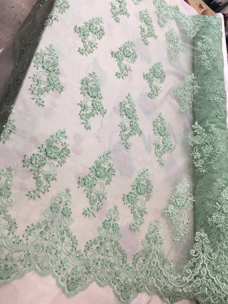 Shop Beaded Mesh Lace Fabric Mint Green Lace By The Yard Embroidered Lace With Beads And Sequins French Bridal Veil