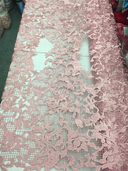 Sold By The Yard Pink Lace Fabric Corded Flowers Embroidery With Leafs For Wedding Dress - Supreme Acoustics