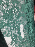 Sold By The Yard Green Lace Fabric Corded Flowers Embroidery With Leafs For Wedding Dress