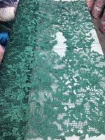 Sold By The Yard Green Lace Fabric Corded Flowers Embroidery With Leafs For Wedding Dress - Supreme Acoustics