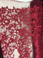 Sold By The Yard Burgundy Lace Fabric Corded Flowers Embroidery With Leafs For Wedding Dress - Supreme Acoustics