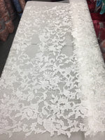 Sold By The Yard Ivory Lace Fabric Corded Flowers Embroidery With Leafs For Wedding Dress