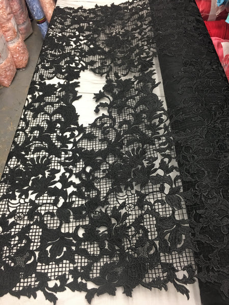 Sold By The Yard Black Lace Fabric Corded Flowers Embroidery With Leafs For Wedding Dress