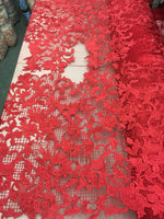 Sold By The Yard Red Lace Fabric Corded Flowers Embroidery With Leafs For Wedding Dress - Supreme Acoustics