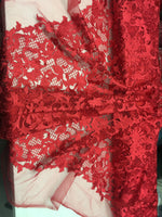 Sold By The Yard Red Lace Fabric Corded Flowers Embroidery With Leafs For Wedding Dress