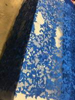 Sold By The Yard Royal Blue Lace Fabric Corded Flowers Embroidery With Leafs For Wedding Dress - Supreme Acoustics