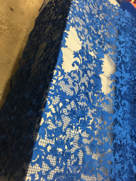 Sold By The Yard Royal Blue Lace Fabric Corded Flowers Embroidery With Leafs For Wedding Dress