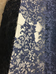 Sold By The Yard Navy Lace Fabric Corded Flowers Embroidery With Leafs For Wedding Dress - Supreme Acoustics