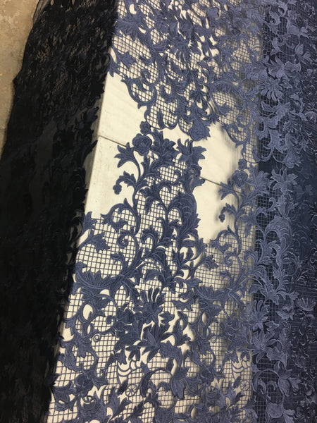 Sold By The Yard Navy Lace Fabric Corded Flowers Embroidery With Leafs For Wedding Dress