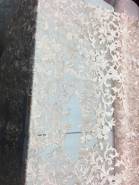 Sold By The Yard Peach Lace Fabric Corded Flowers Embroidery With Leafs For Wedding Dress