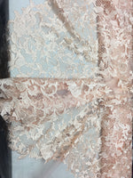 Sold By The Yard Peach Lace Fabric Corded Flowers Embroidery With Leafs For Wedding Dress - Supreme Acoustics