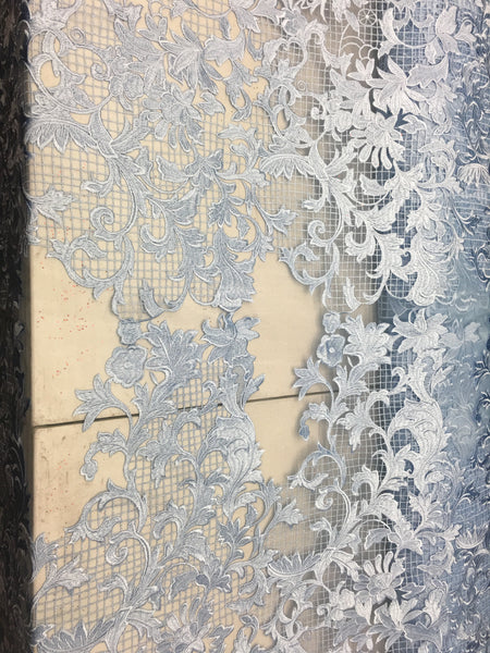 Sold By The Yard Blue Lace Fabric Corded Flowers Embroidery With Leafs For Wedding Dress